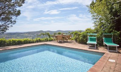 Photo for Private Villa with private pool, WIFI, TV, terrace, panoramic view, close to Greve In Chianti