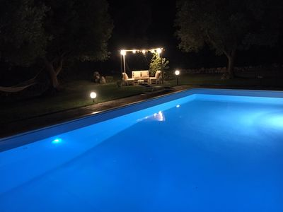 Photo for Trullo in the countryside with swimming pool and sea view