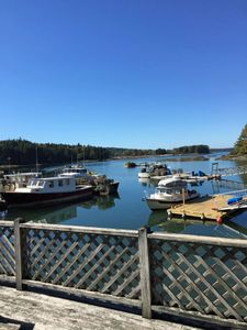 Enjoy sitting on the deck and watching the lobster boats come and go
