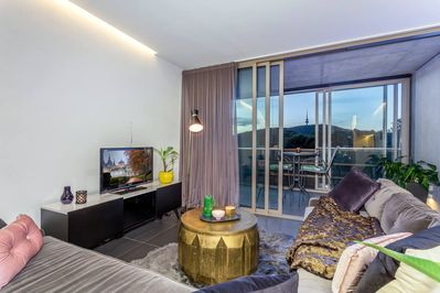 Lounge room overlooking the iconic Telstra Tower and Black Mountain