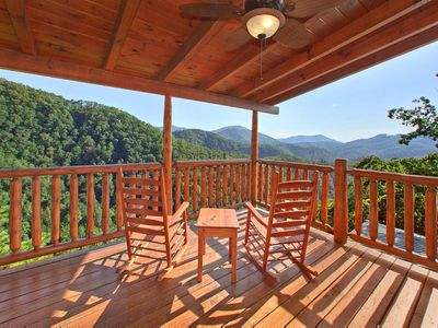 Photo for Private Cabin with wrap-around decks, pool table, hot tub, and free passes to local attractions.