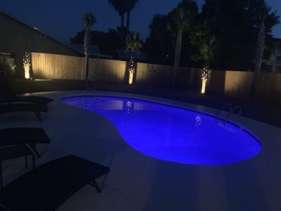 Enjoy night time swimming in your private pool with LED color changing lights!