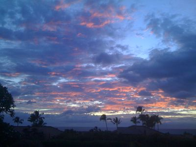 Blue and orange sunset seen from our lanai.