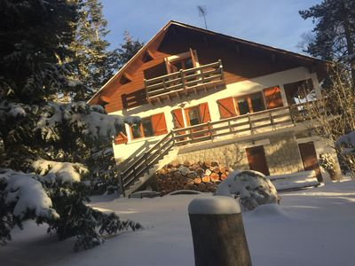 Photo for Family chalet with magnificent view of high mountain. Ideal families and pets