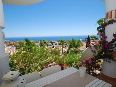 Photo for Comfortable apartment with a magnificent view of the sea near Mijas Costa