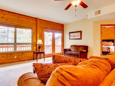 Photo for NEW LISTING! Dog-friendly condo w/shared hot tub -near town, skiing & state line
