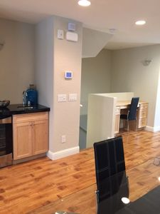 Living Dining and Desk and Wine bar area