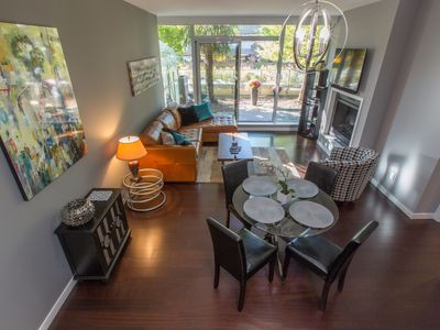 Photo for Luxury 1BR/1.5BA, with Fireplace and Library, A/C and Seasonal Pool and Hot Tub