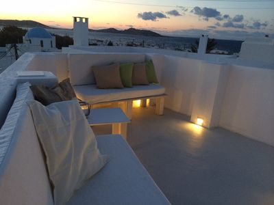 Private, relaxing veranda with splendid view at Naousa bay!