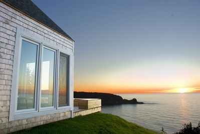 cottage overlooking beach, point and ocean- and west toward fabulous sunsets