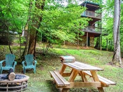 Photo for 2BR/2BA Creek Front Cabin Sleeps 8, Satellite TV, WIFI, Private Hot Tub, Gas Grill, Gas Log Fireplac