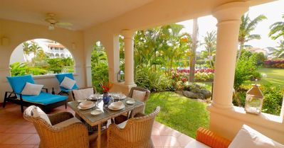 Dine and relax on the spacious terrace just moments from the glorious pool.