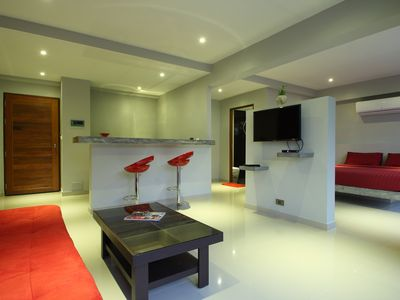 Photo for Suite 50sqm design, ideally situated, swimming pool, kitchen, king size bed, WIFI 200MB