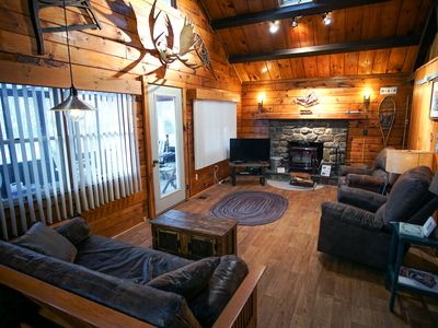Photo for Mountain Log Cabin—K/Q beds, New Kitchen, WiFi, Private Lake & Pool