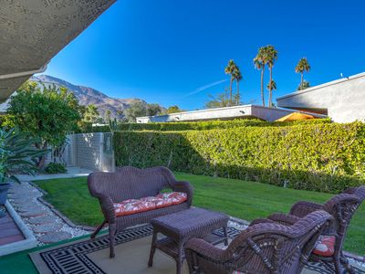 Photo for Palm Springs Hideaway: Private ground level condo with pool, hot tub, sauna & fitness center!