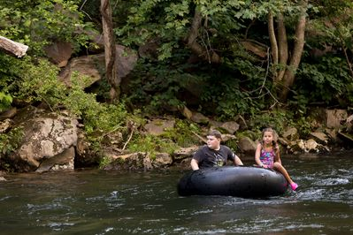 Tubing on the river after a little rain.