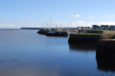 Entrances to the two Tayport harbours.  Our apartment is in middle building