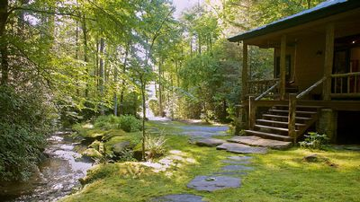 Photo for Secluded & Luxury 'Waterfall Cabin' Bordered By 8,000 Acre Forest, WiFi
