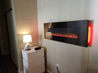 electric, remote-operated fireplace