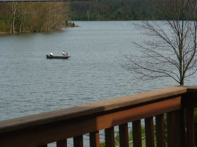 Fishermen on Lake Ellerslie from the deck by Allyson Art Photography.