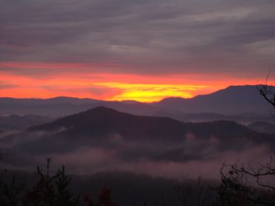 A view of the sunrise in the Smokies from the back porch.