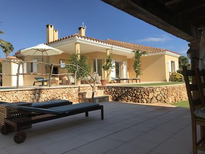 Photo for Modern Villa with 12m private salt water pool with sea views 100m from the sea.