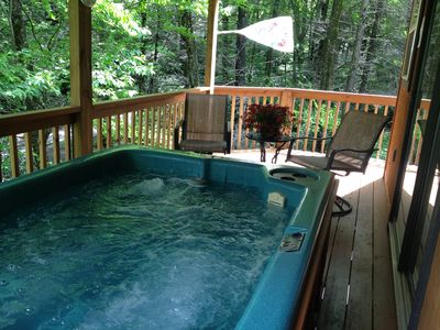 Photo for HONEYMOON 29% off CREEK, VIEW,  WIFI, ~A/C~, King Bed, Jacuzzi, pvt hot tub.