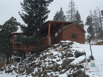 Photo for Fully equipped cabin for a weekend getaway with propane grill and hot tub