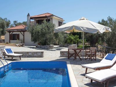 Photo for Villa with sea views, pool, terrace + BBQ, short drive from town + beaches