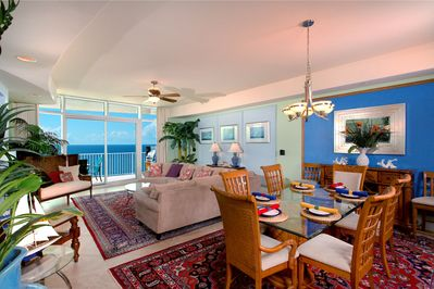 Great Room with views to the Gulf and surround sound entertainment