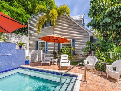 Photo for Romantic dog-friendly cottage w/shared pool, tropical decor, & easy beach access
