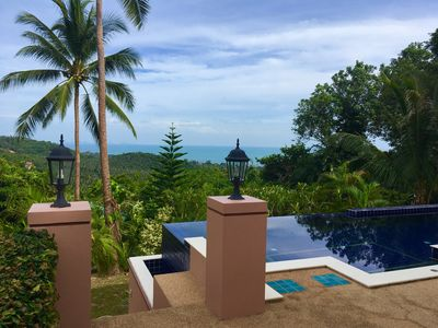Photo for Enchanted Hills villa with private pool & stunning sunsets, ocean & island views