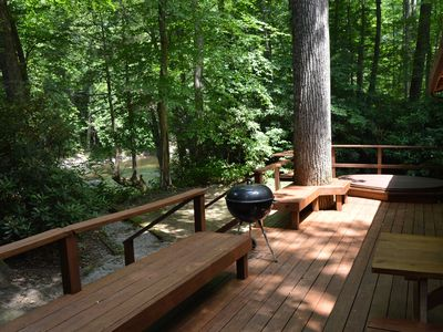 Photo for ULTIMATE riverfront PRIVACY. 5 acres HOT TUB !  Full Staff. TOP RATED !!