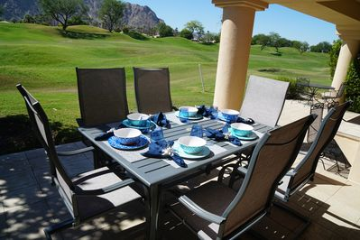 Patio dining @ the 16th fairway.