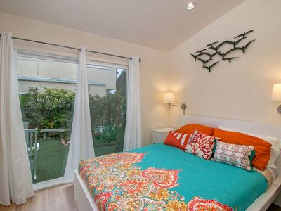 Light and bright with vaulted ceilings and a spacious patio just outside