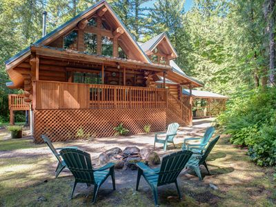 Photo for Secluded lodge on the Sandy River, woodstove, hot tub, dog-friendly