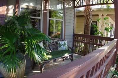 The front porch is a great place to sit with a cool drink and a good book.