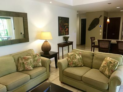 Comfortable furnishings and decorator touches throughout.