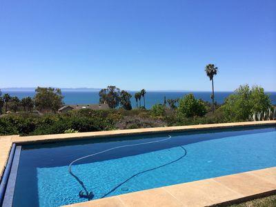 View of the ocean and Santa Cruz Island from poolside