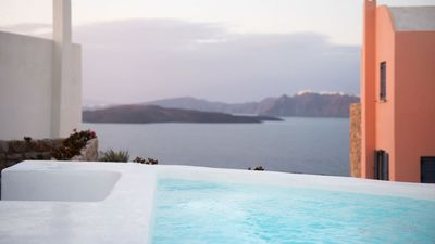Photo for Exclusive Akrotiri Santorini Heated Pool Villa 3br upto 7guests