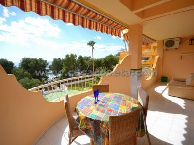 Photo for FIRST LINE APARTMENT;SEAVIEW, A/C, WIFI, SWIMMING POOL,20M FROM BEACH AND CENTRE