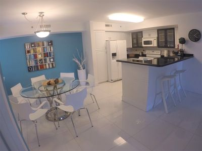 Dining and Kitchen with  Bar Stools