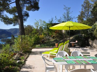 Photo for Beautiful renovated Provencal farmhouse with magnificent view of the lake of Esparron de Verdon