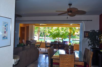 The condo offers a spacious living room and terrace with view to the marina.