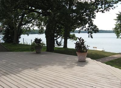 View from the Large Lakeside Deck with 5 Walkout Sliding Patio Doors