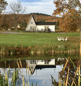 Autumn view of home from pond