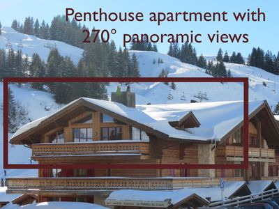 Photo for Luxury ski-in/ski-out chalet-style apartment with spectacular views