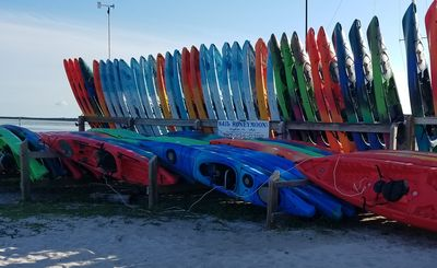 Rent kayaks and paddles boards at Honeymoon for the day.