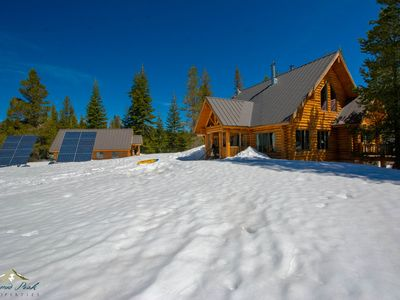 Photo for Luxury Log Cabin off the grid on 113 acres