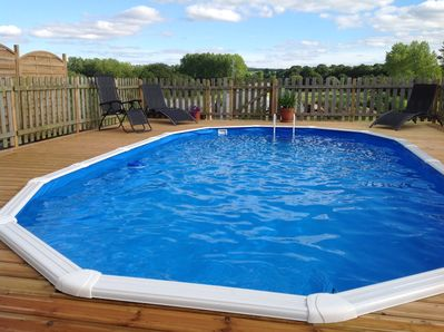Have some fun in the private, heated swimming pool!